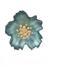 Alexis Bittar Crystal Burst Flower Pin - Blue