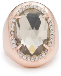 Alexis Bittar Crystal Encrusted Halo Stone Ring - Metallic