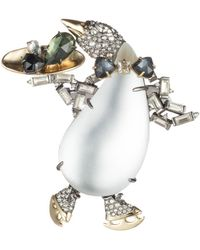 Alexis Bittar Crystal Encrusted Skating Penguin Pin - Metallic