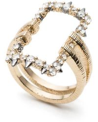 Alexis Bittar Crystal Encrusted Oversized Link Ring - Metallic