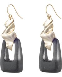 Alexis Bittar Crumpled Gold Drop Wire Earring - Black