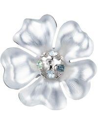 Alexis Bittar Liquid Rhodium Flower Pin - Metallic