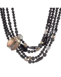 Alexis Bittar Crystal Encrusted Scarab Multi-strand Bib Necklace - Black