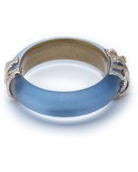 Alexis Bittar Orbiting Bamboo Crystal Encrusted Hinge Bracelet - Blue