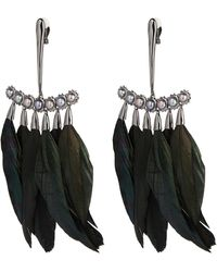 Alexis Bittar Pearl And Feather Chandelier Clip Earring - Multicolour