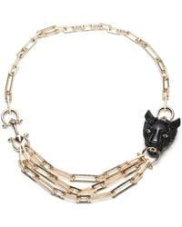 Alexis Bittar Crystal Encrusted Panther Chain Link Necklace - Black