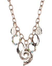 Alexis Bittar Hammered Bamboo And Multi-stone Mesh Chain Charm Necklace - Multicolour