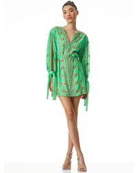 Alice + Olivia Zia Embroidered Mini Dress - Green