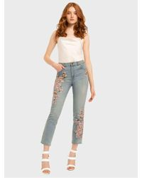 Alice + Olivia Amazing Embroidered High Rise Jean - Blue