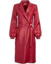 Alice + Olivia Tamesha Vegan Leather Coat - Red