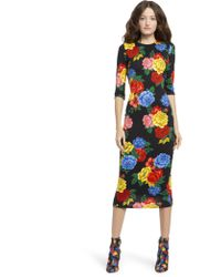 Alice + Olivia - Delora Fitted Floral Crewneck Dress - Lyst
