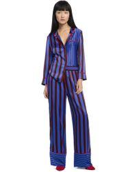 Alice + Olivia - Striped Silk Nightwear Trousers - Lyst