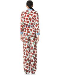 Alice + Olivia Verna Notch Collar Robe With Tie Waist - Red