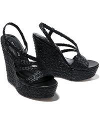 Alice + Olivia Tenley Strappy Wedge Sandals - Black