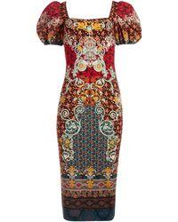 Alice + Olivia Lexia Puff Sleeve Midi Dress - Multicolour