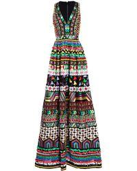 Alice + Olivia Casandra Sequin V-neck Ball Gown - Multicolour