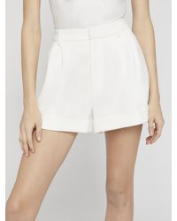 Alice + Olivia Conry Pleated Cuff Shorts - White