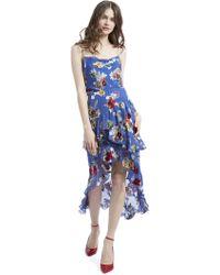 Alice + Olivia Mariel Ruffle Floral Skirt - Blue
