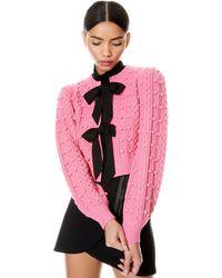 Alice + Olivia Kitty Puff Sleeve Cardigan - Pink