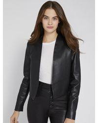 Alice + Olivia - Harvey Open Front Leather Jacket - Lyst
