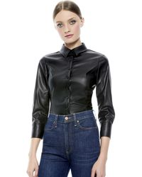Alice + Olivia Nadine Vegan Leather Blouse - Black