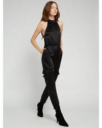 Alice + Olivia Dede High Neck Cargo Jumpsuit - Black