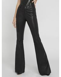 Alice + Olivia Leather Bell Pant - Black