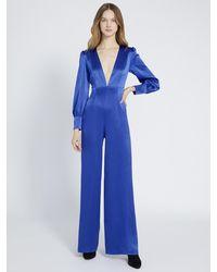Alice + Olivia Lisa Puff-sleeve Plunging Jumpsuit - Blue