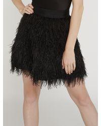 Alice + Olivia Cina Feather Skirt - Black