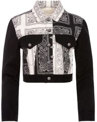 Alice + Olivia Bandana Patchwork Cropped Jacket - Black