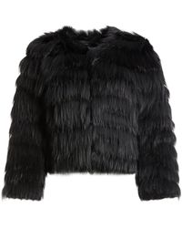 Alice + Olivia Fawn Fur Jacket - Black