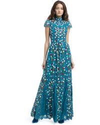 Alice + Olivia Arwen Embroidered Godet Gown - Blue