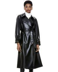 Alice + Olivia Nevada Vegan Leather Coat - Black