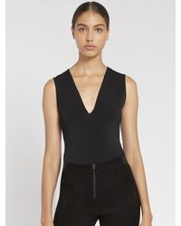 Alice + Olivia Marley Sleeveless Thong Bodysuit - Black