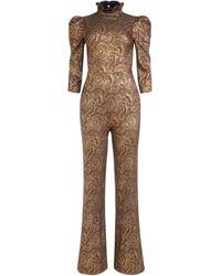 Alice + Olivia Jorah Puff Sleeve Metallic Jumpsuit