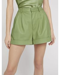 Alice + Olivia Conry Leather Pleated Shorts - Green