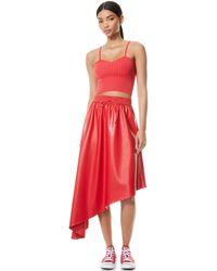 Alice + Olivia Natalina Vegan Leather Asymmetrical Midi Skirt - Red