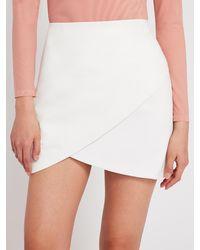 Alice + Olivia Fidela Leather Combo Mini Skirt - White
