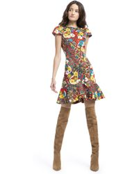 Alice + Olivia - Kirby Ruffle Floral Mini Dress - Lyst
