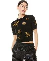 Alice + Olivia Ciara Bee Embellished Pullover - Black