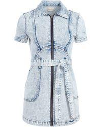 Alice + Olivia Gorgeous Zip Up Mini Dress - Blue