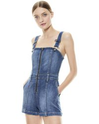 Alice + Olivia Gorgeous Overall Short - Blue