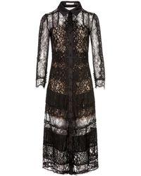 Alice + Olivia Sibella Collared Lace Midi Dress - Black