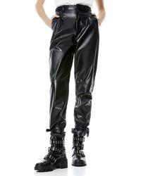 Alice + Olivia Ivette Leather Braided Belt Pant - Black