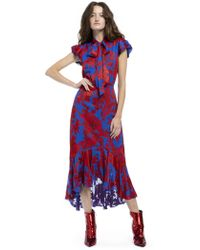 Alice + Olivia - Ilia Tie Neck Layered Ruffle Dress - Lyst