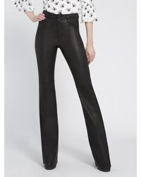 Alice + Olivia Brent High Waisted Leather Pant - Black