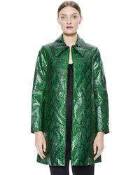 Alice + Olivia Logan Leather Coat - Green