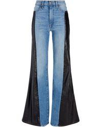 Alice + Olivia Max Vegan Leather Combo Pant - Blue