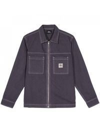 Stussy Overdyed Hickory Ls Zip Shirt - Purple