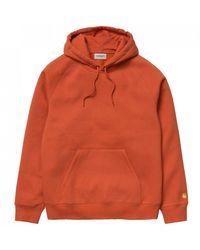 Carhartt WIP Hooded Chase Sweat In Brick Orange